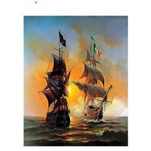 DIY Digital Oil Painting Adult Hand Painted Warship Oil Painting