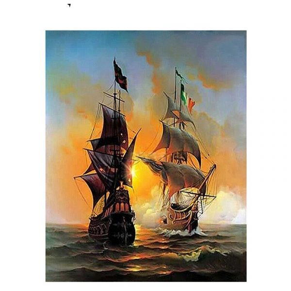DIY Digital Oil Painting Adult Hand Painted Warship Oil Painting