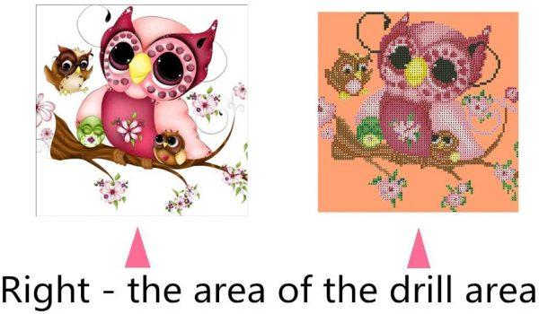 Kit collage diamant 5D – Maman chouette et ses bébés