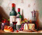 Vin et fromage - Kit de peinture à l'huile par numéro pour adultes débutant 40,6 x 50,8 cm