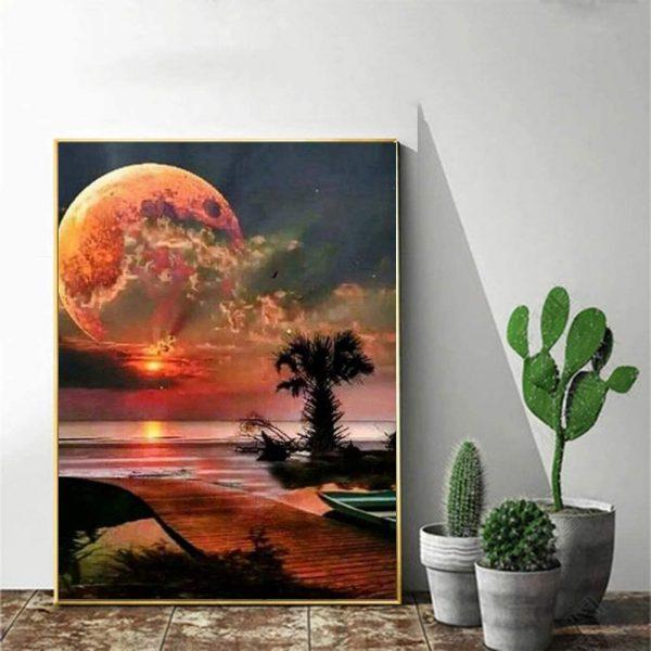 Lune coloré Kit de collage à diamant pour décoration murale de maison, lune 39 x 30 cm