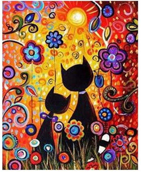 Peinture par numéros – chats et fleurs - 50,8 x 40,6 cm - 3 pinceaux, 24 peintures acryliques