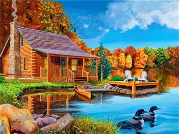 Maison de bord de lac | Kit de peinture à l'huile par numéro - 40,6 x 50,8 cm