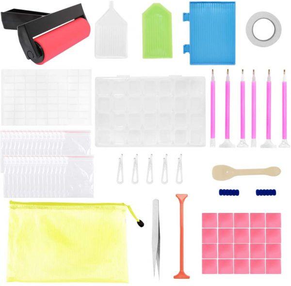 Kit de collage diamant 5D et accessoires avec outils de fixation de peinture diamant et 1 boîte de rangement de 28 grilles