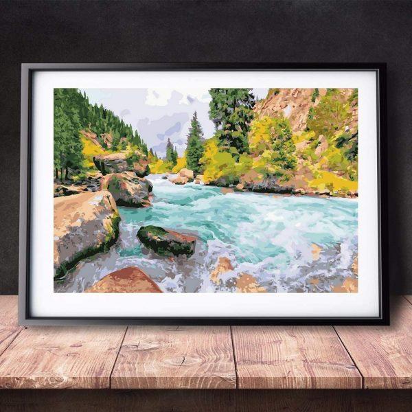 Peinture à numéro - Cascade en forêt - 40,6 x 50,8 cm avec pinceaux, pigment acrylique