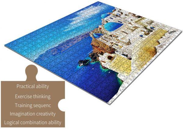 Casse-tête, Grèce - 1000 pièces pour adultes - paysage de Santorini de la mer Égée