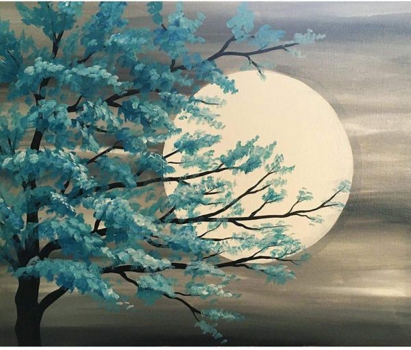 Lune d'été Kit de collage à diamant pour décoration murale de maison, lune 39 x 30 cm