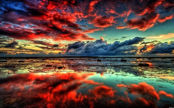 Réflexion du ciel dans la mer - 40,6 x 50,8 cm - Avec 3 pinceaux et 24 peintures acryliques