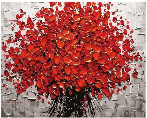 Peinture à numéro, bouquet de fleurs rouges, 50,8 x 40,6 cm | 3 pinceaux, 24 peintures acryliques