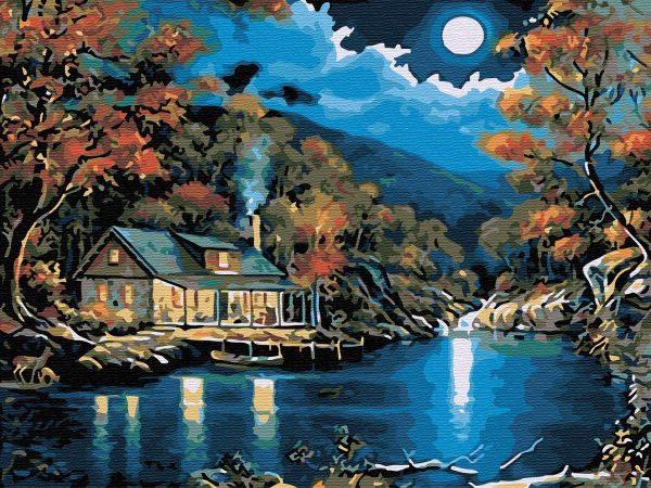 Chalet près du lac   Peinture à l'huile   Peinture à numéro