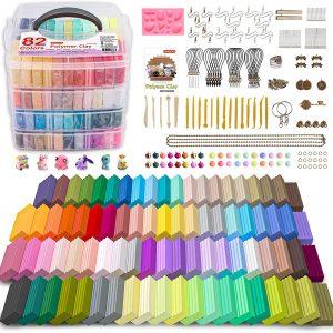 Kit de pâte à modeler au four avec 82 couleurs, 19 outils de sculpture et 16 types d'accessoires