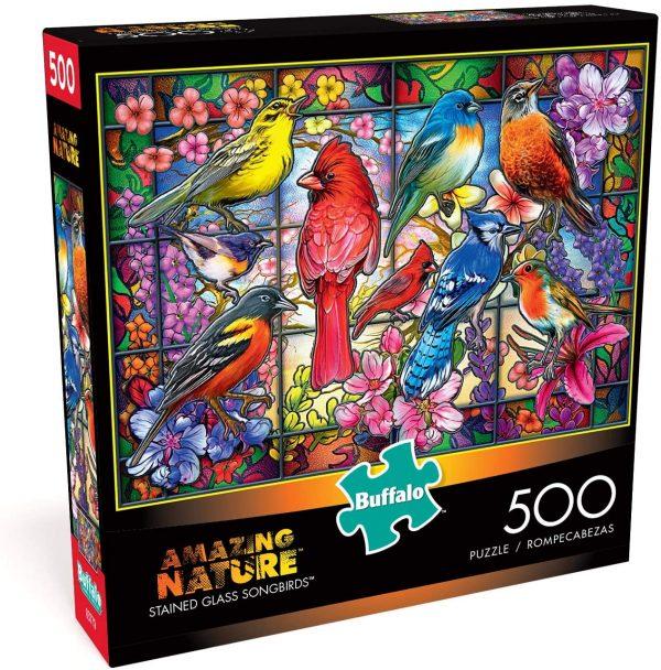 Oiseaux chanteurs en verre teinté – Puzzle de 500 pièces