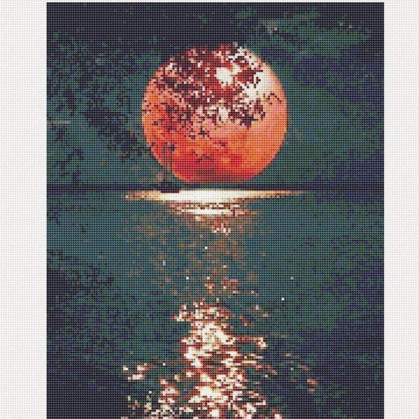 Lune rouge Kit de collage à diamant pour décoration murale de maison, lune 39 x 30 cm (Copie)