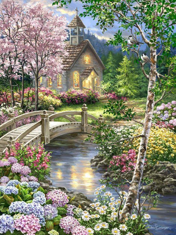 Église près du ruisseau - Kit de peinture à l'huile sur toile