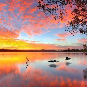 Paysage Soirée Crépuscule Lac   Peinture par numéros