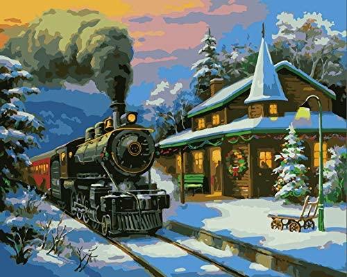 Train de noël Kit de peinture par numéros, peinture par numéros sur toile, 50,8 x 40,6 cm