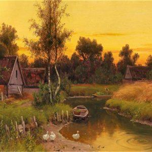 Petit ruisseau sous le coucher du soleil | Peinture à numéro 16x20 pouces