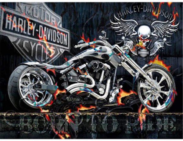 Moto Harley Davidson - Collage à diamant 5D par numéro pour adultes, 30 x 40 cm
