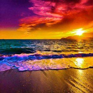 Coucher de soleil à la plage - Collage à diamant 5D - 40,6 x 30,5 cm
