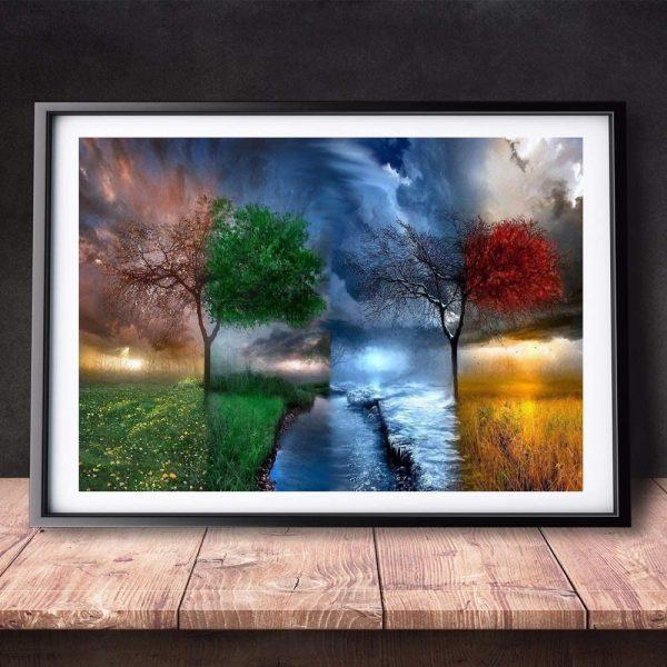 Peinture par numéros – Arbre de vie 4 saisons - 50,8 x 40,6 cm