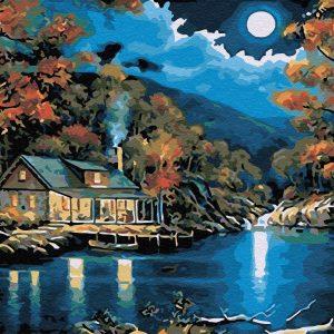 Chalet près du lac | Peinture à l'huile | Peinture à numéro